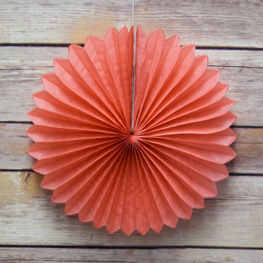 8 roseate pink coral tissue paper flower rosette fan for Decoration 6