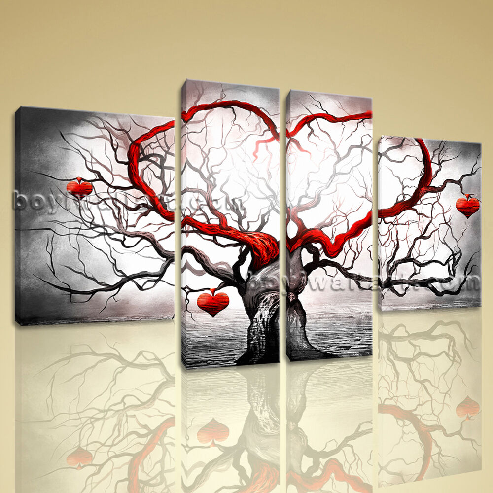 Large stretched canvas print abstract heart love tree for Picture wall decor