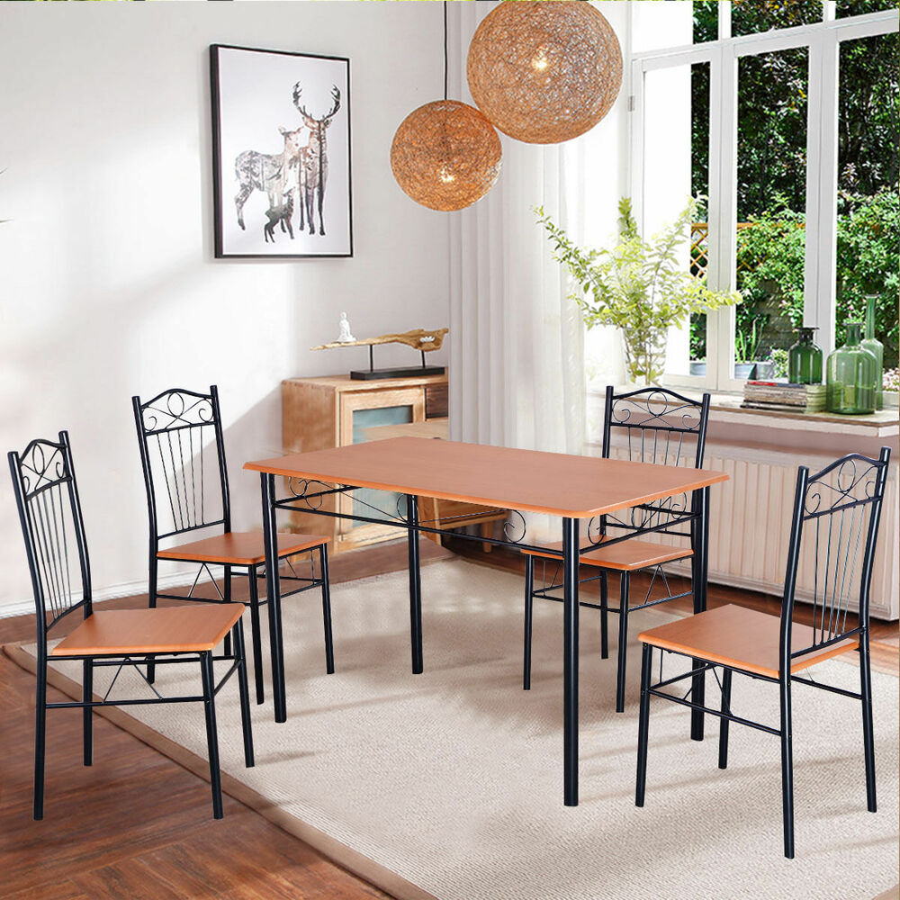 steel frame dining set table and chairs kitchen modern furniture bistro wood new ebay. Black Bedroom Furniture Sets. Home Design Ideas