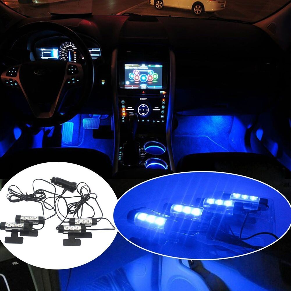 4x 3led car charge interior accessories floor decorative atmosphere lamp light ebay. Black Bedroom Furniture Sets. Home Design Ideas