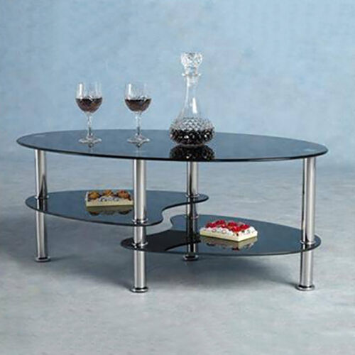 Modern Coffee Table Glass & Metal Lower Storage Shelves