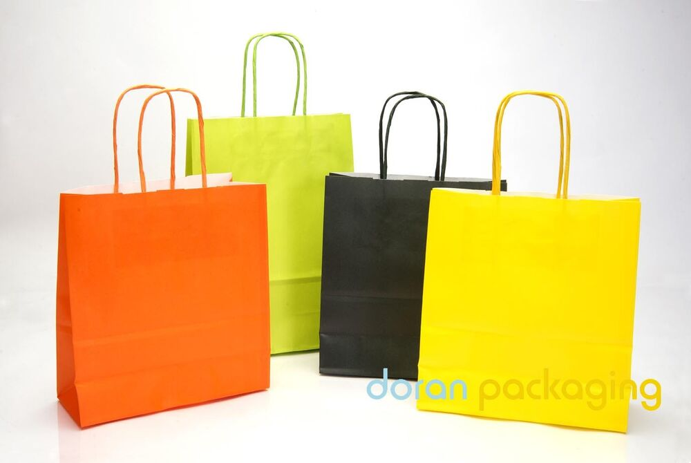 Coloured Twist Handle Paper Party Gift Carrier Bags With