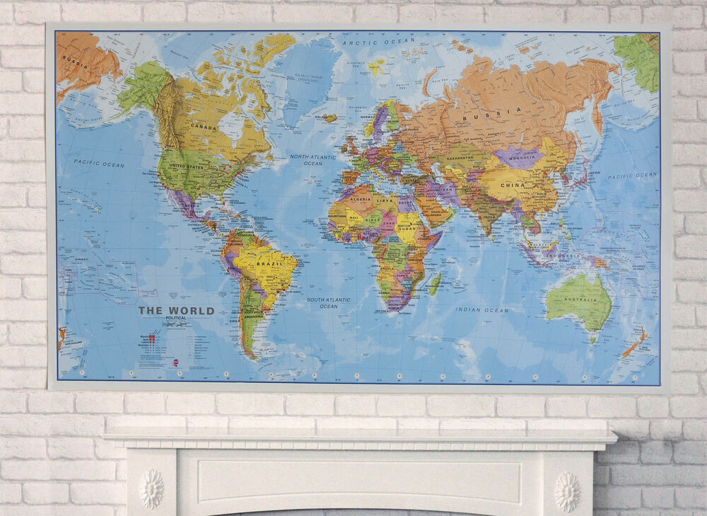 Huge Map Of The World.World Wall Map Political Huge Free Uk Shipping Ebay