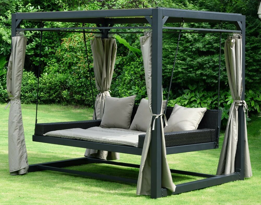designer rattan gartenm bel lounge sitzgruppe sitzgarnitur weiss grau f r garten ebay. Black Bedroom Furniture Sets. Home Design Ideas