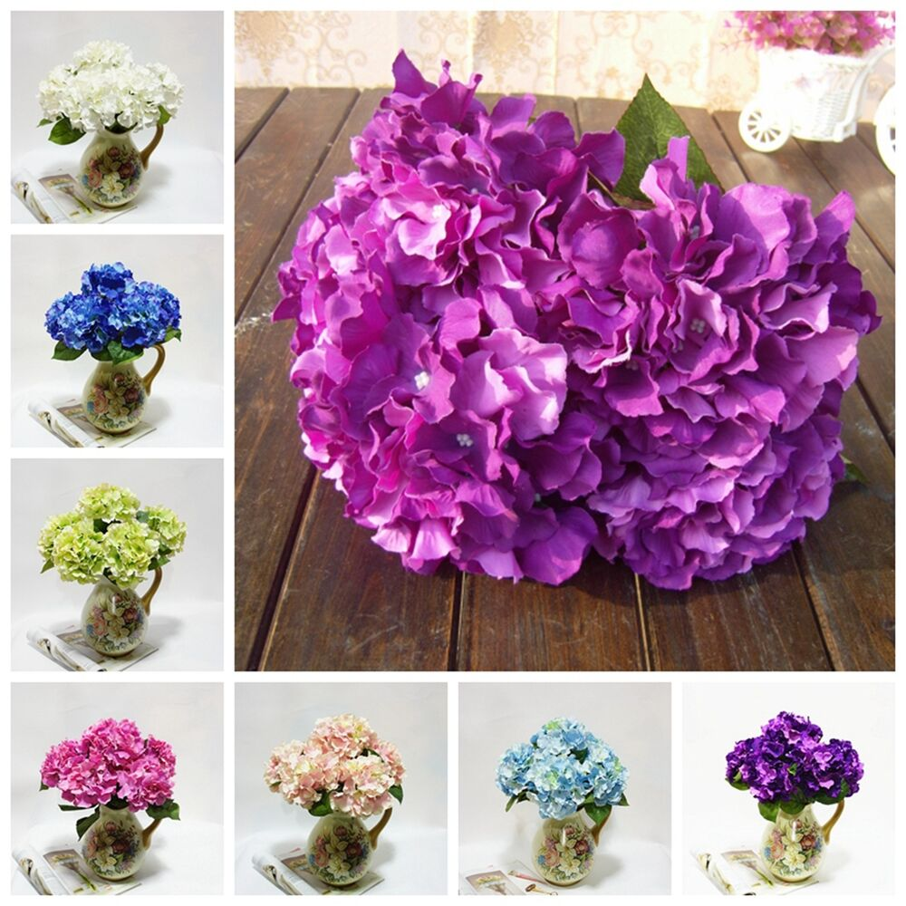 Real Vs Fake Flowers Wedding: 5 Artificial Craft Hydrangea Bouquet Party Home Wedding