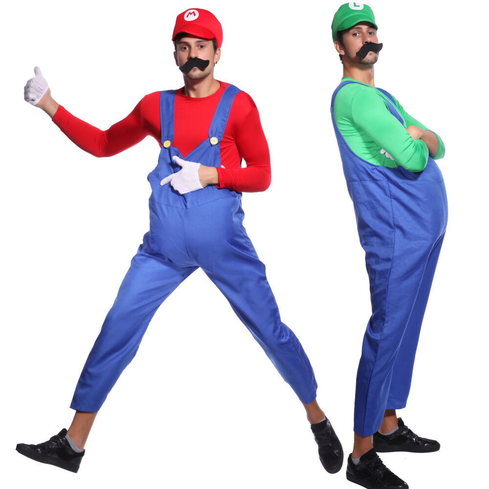 super mario bros mario luigi klempner herrenkost m karneval fasching party ebay. Black Bedroom Furniture Sets. Home Design Ideas