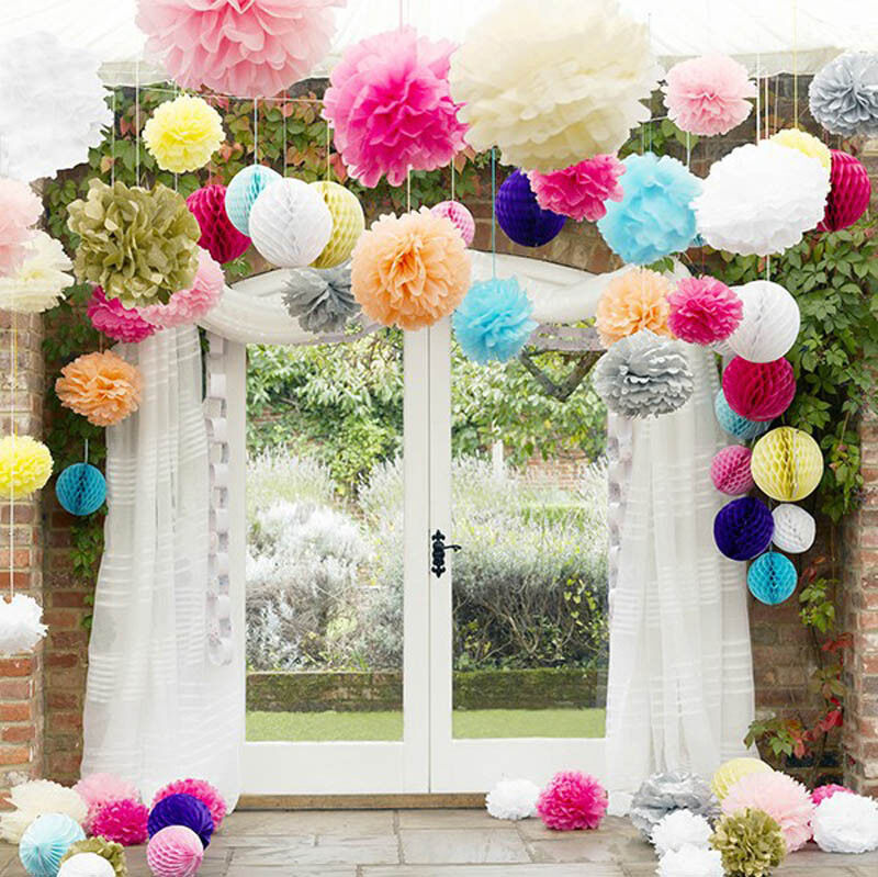 8 10 14 tissue paper pom flowers balls wedding party for Home decorations on ebay