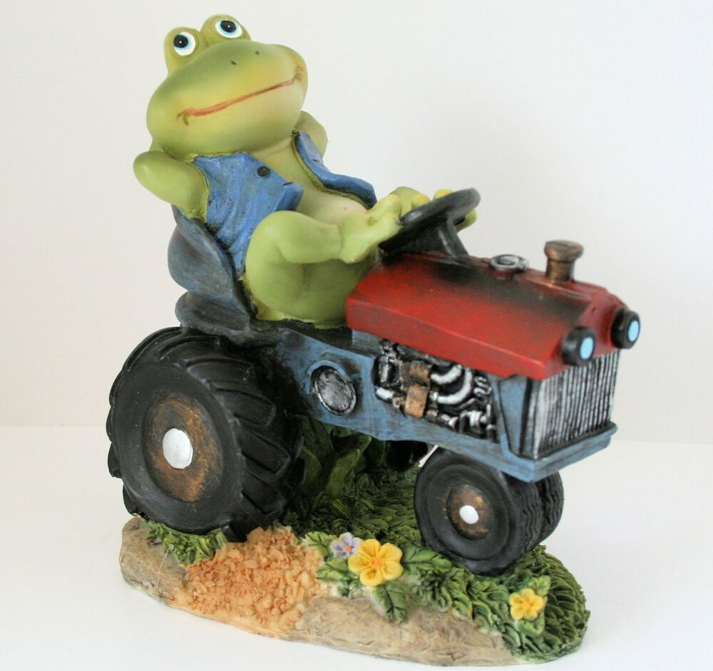 Country frog on tractor figurine patio lawn garden for Lawn and garden decorative accessories