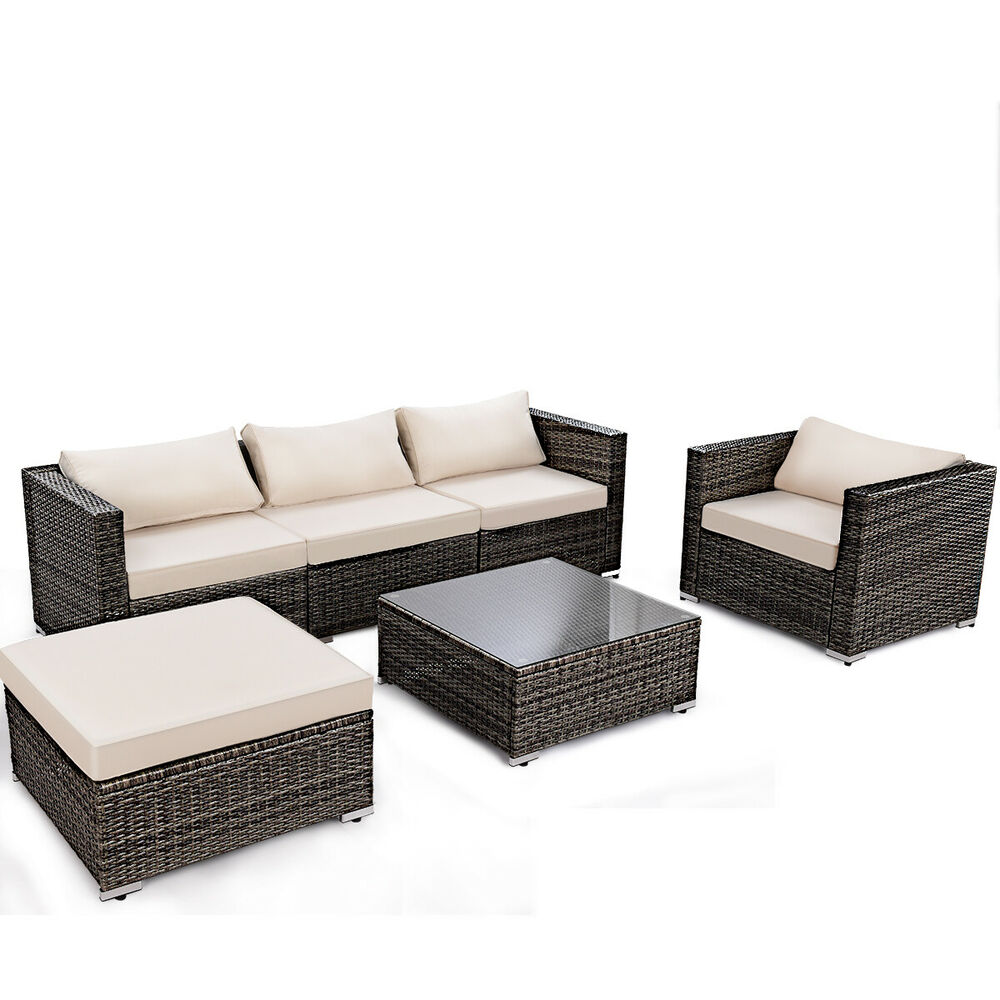 6PC Furniture Set Aluminum Patio Sofa PE Gray Rattan Couch Black Cushion Cove