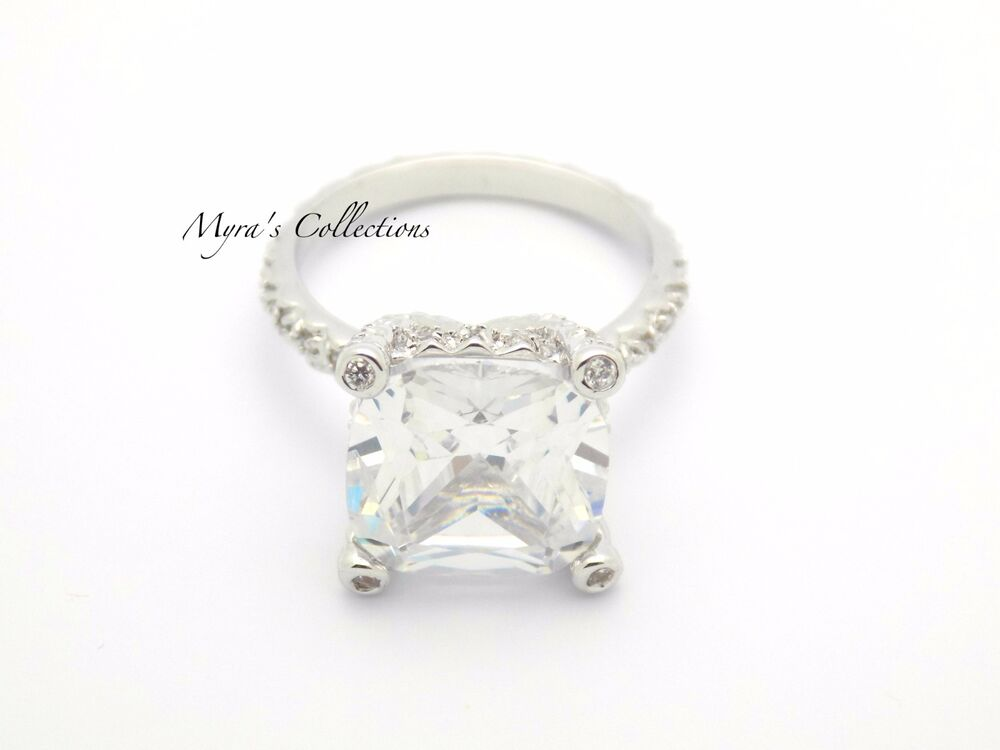 6 2ct Art Deco Vintage Style Cushion Cut CZ Wedding Engagement Ring Size 7