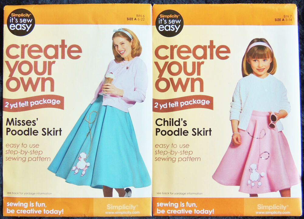 Simplicity Its Sew Easy Sewing Pattern Poodle Skirt Child 3 14 Adult 6 22