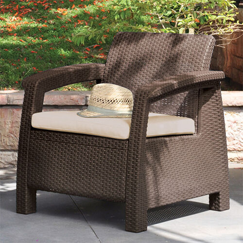 Modern Sofa Chair w Cushion Outdoor Seating Resin Wicker Patio Furniture Bro
