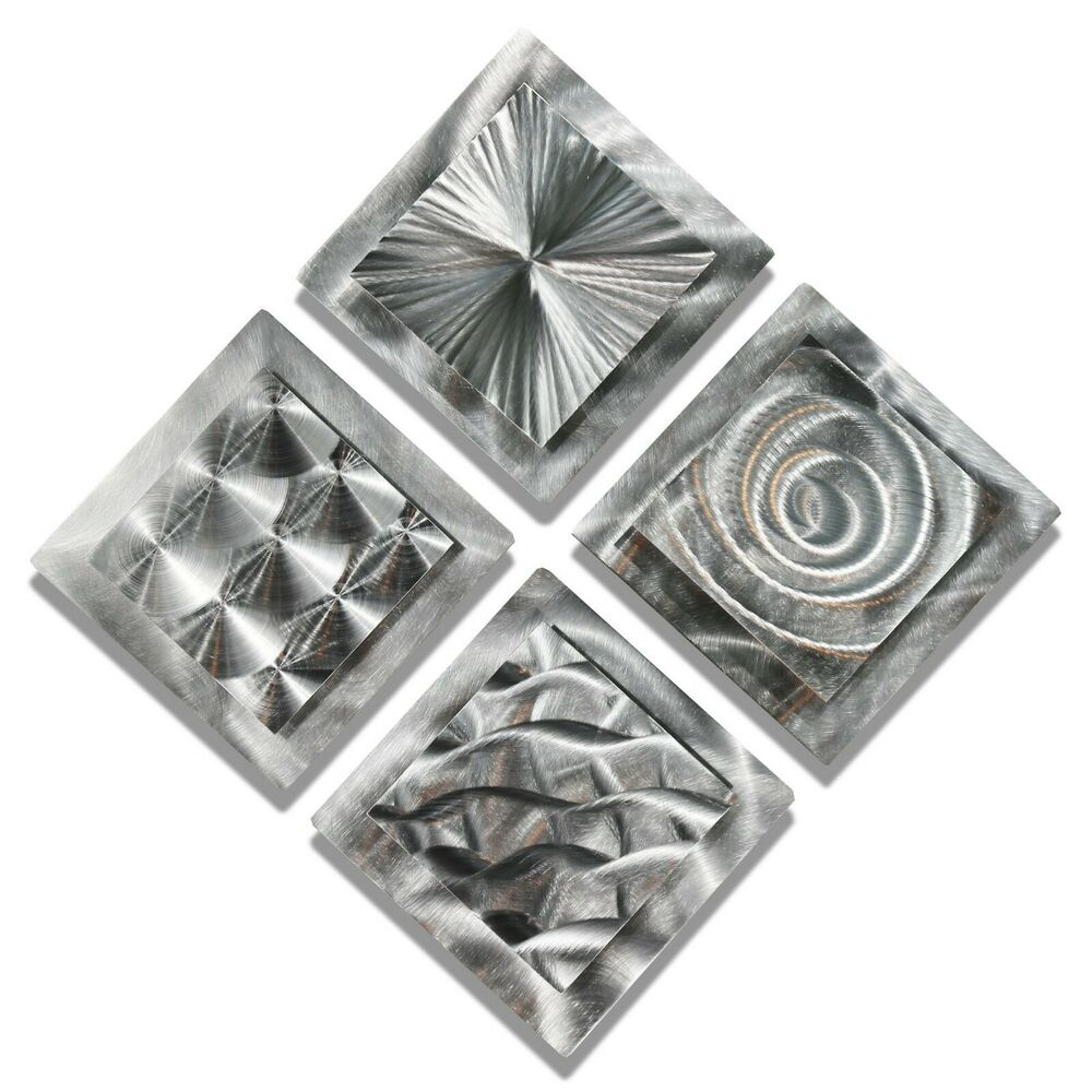 Contemporary Silvers: Modern Abstract Silver Metal Wall Art Original Home Decor