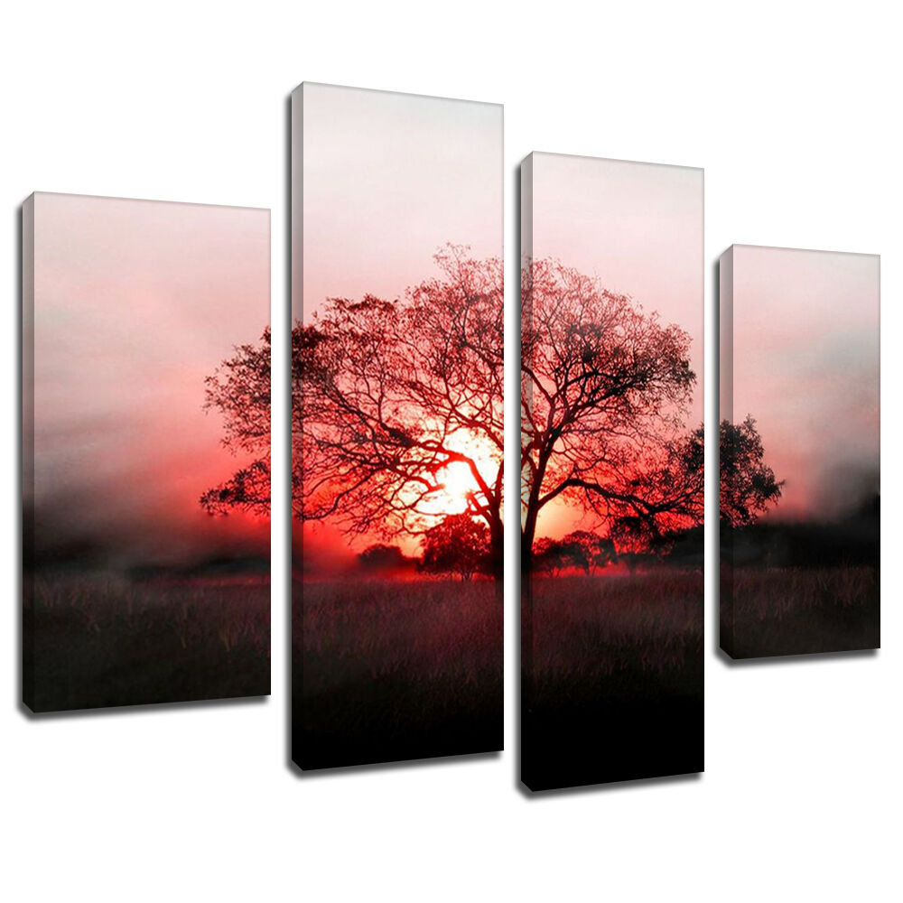 Wall Art Split Canvas : Msc red glow sunset tree canvas wall art multi panel