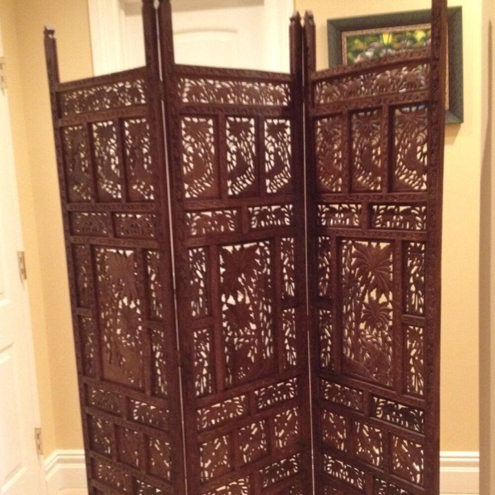 Carved Wooden Screens ~ Antique hand carved teak wood room divider screen ebay