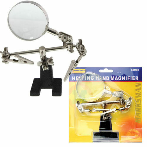 helping hand magnifier magnifying glass clamp soldering stand crocod iron new ebay. Black Bedroom Furniture Sets. Home Design Ideas