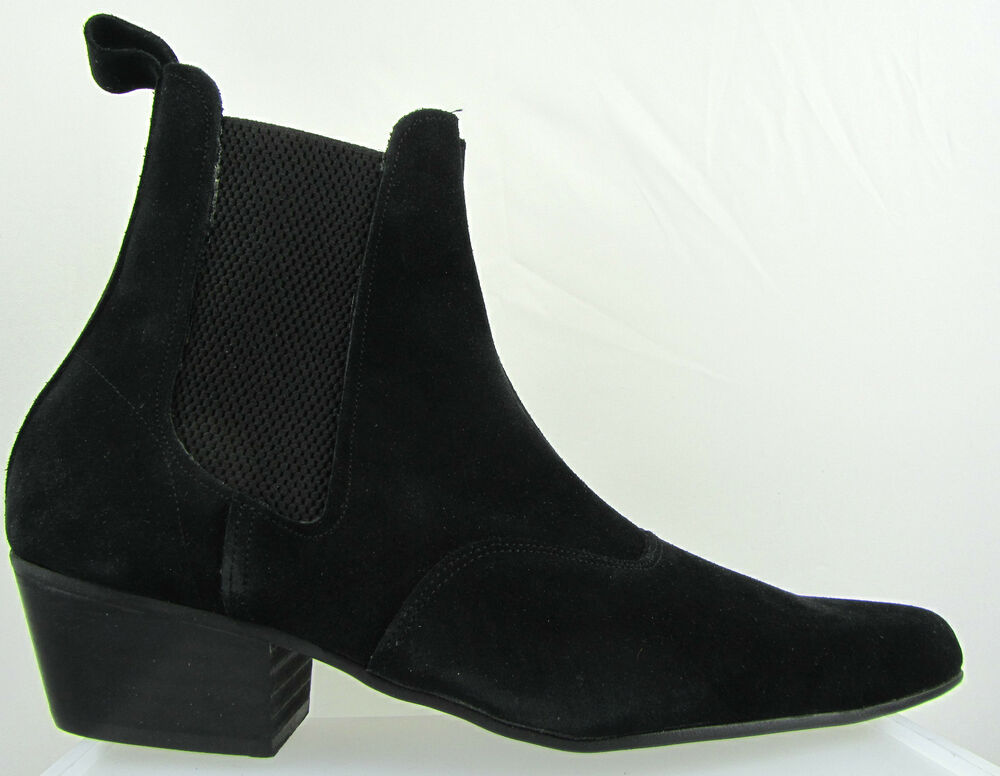 retro of mens black suede chelsea beat boots cuban