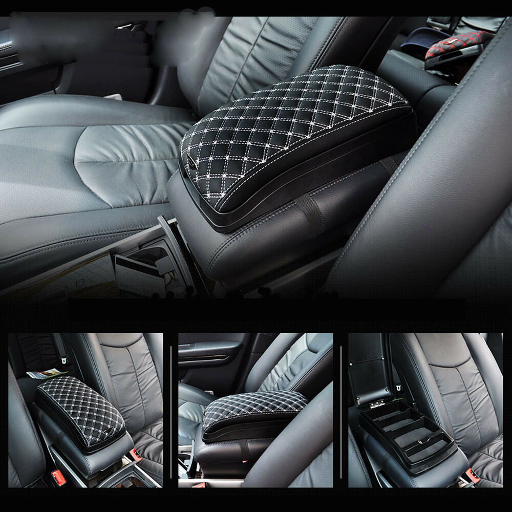 Universal car armrest storage black multi case pocket