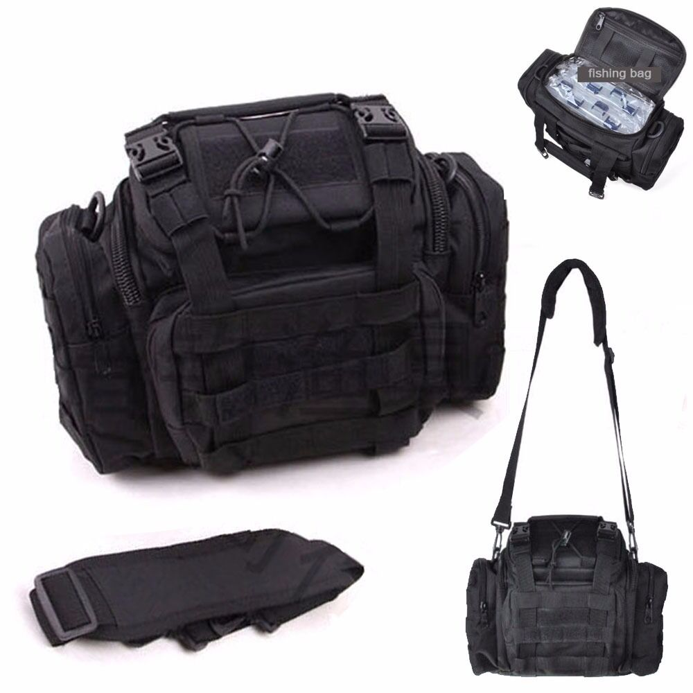 Large capacity fishing gear tackle bags black waist bag for Ebay fishing gear