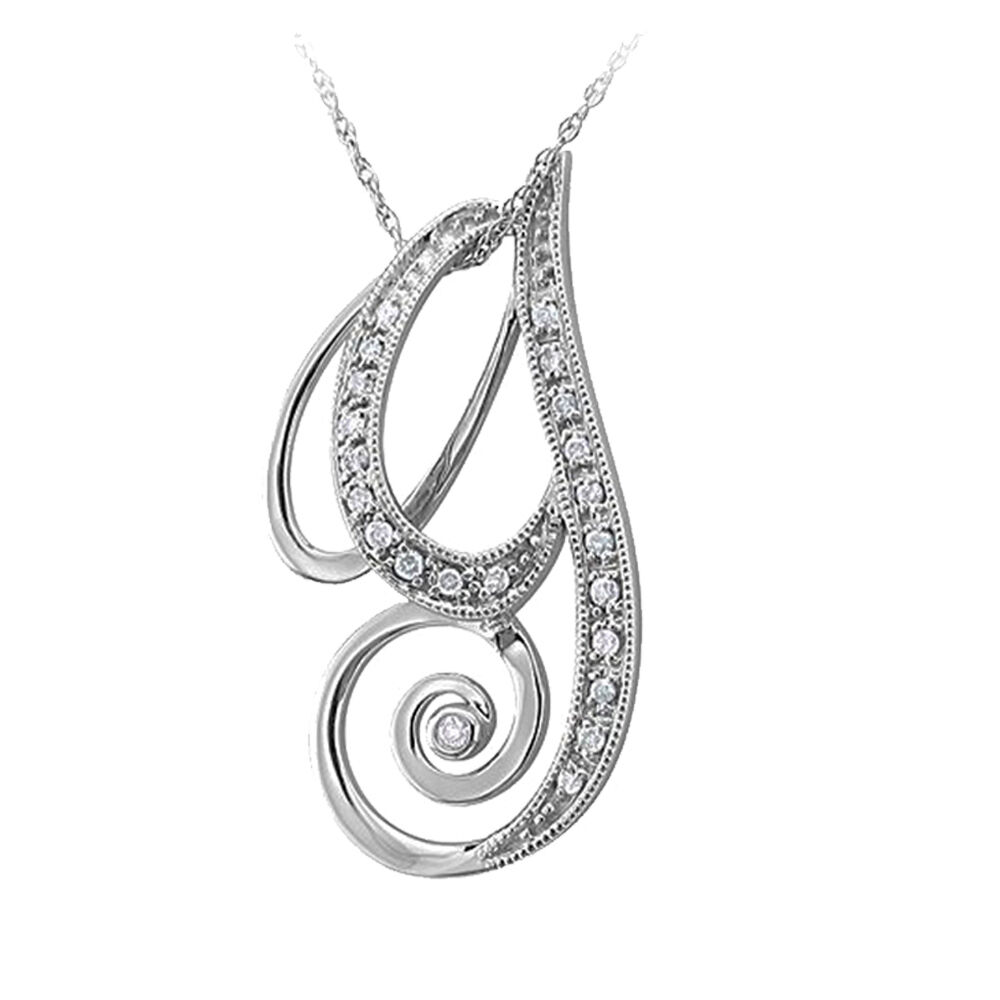 14k white gold alphabet initial g pendant necklace