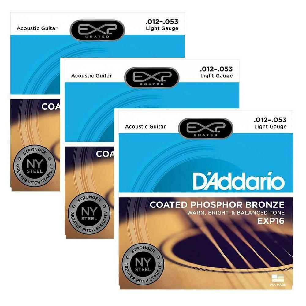 3 sets d 39 addario exp16 exp coated acoustic guitar strings light gauge 12 53 ebay. Black Bedroom Furniture Sets. Home Design Ideas