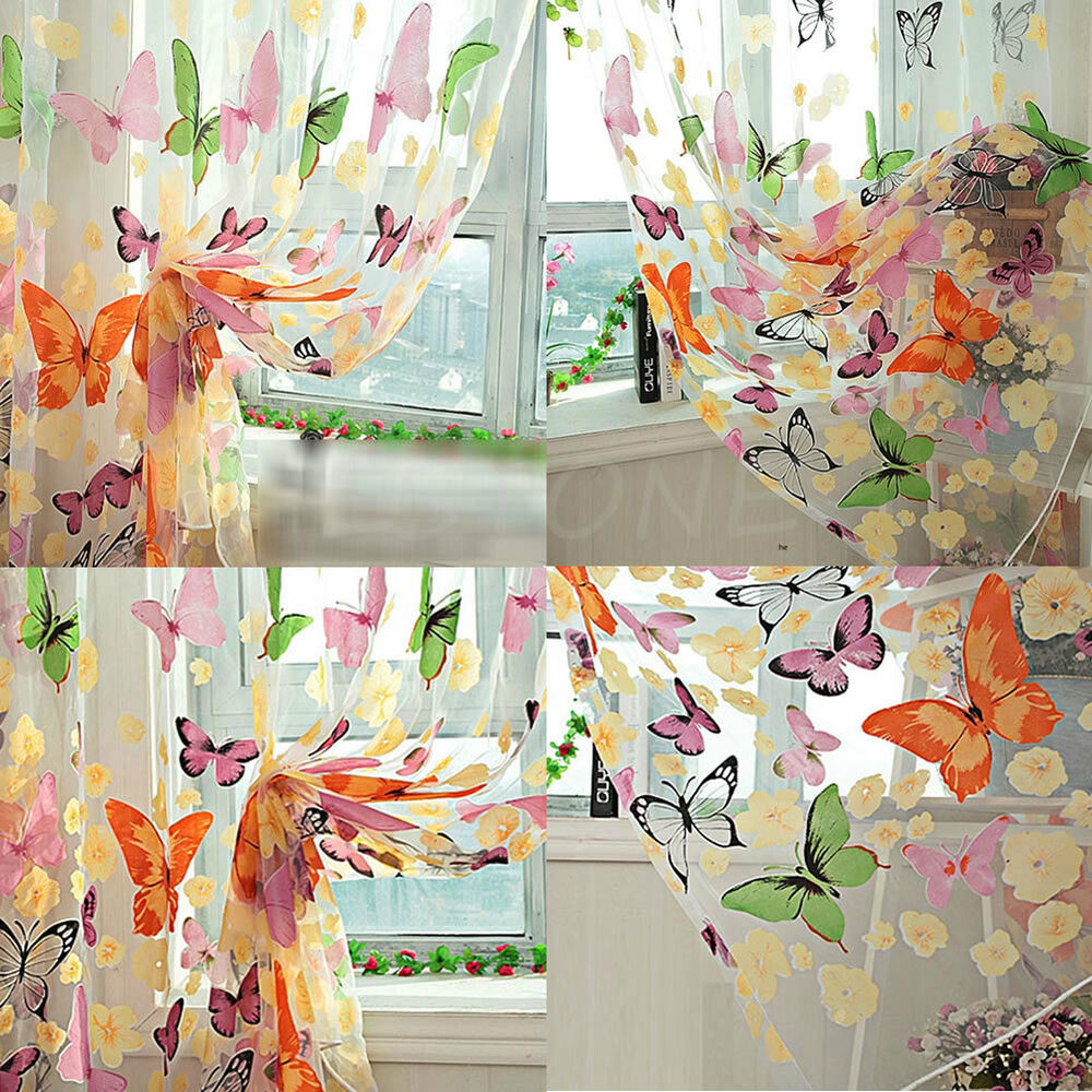 200 X 90cm Floral Butterfly Sheer Curtains Sheers Voile