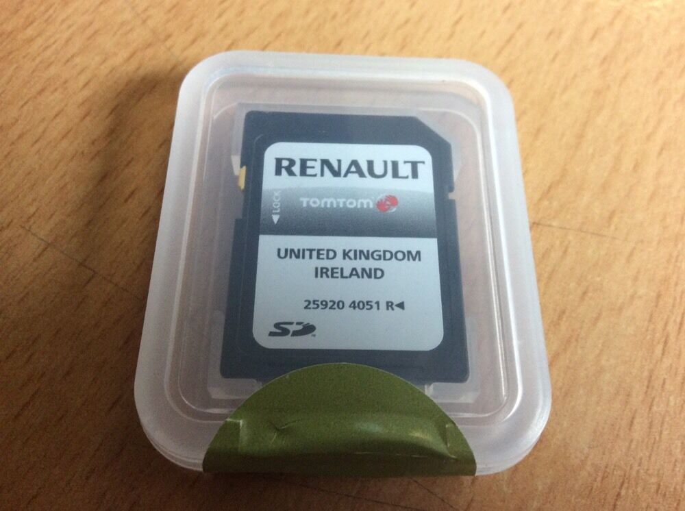 genuine renault tomtom carminat sat nav sd card 259204051r uk maps ebay. Black Bedroom Furniture Sets. Home Design Ideas