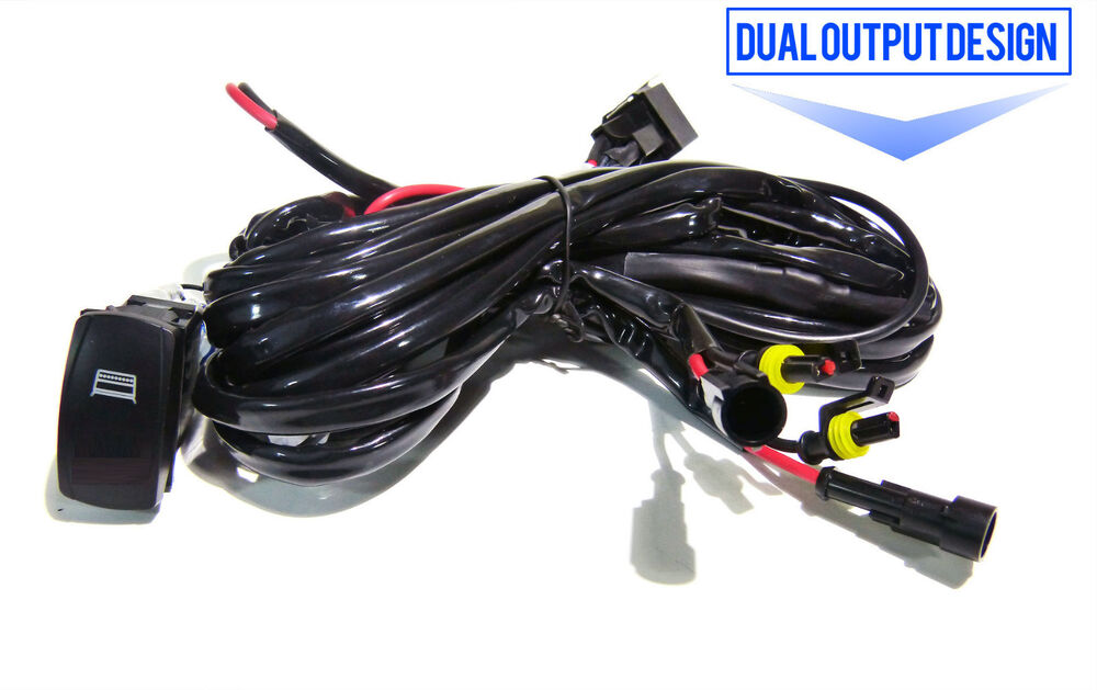 dual output led light bar wiring harness relay for up to