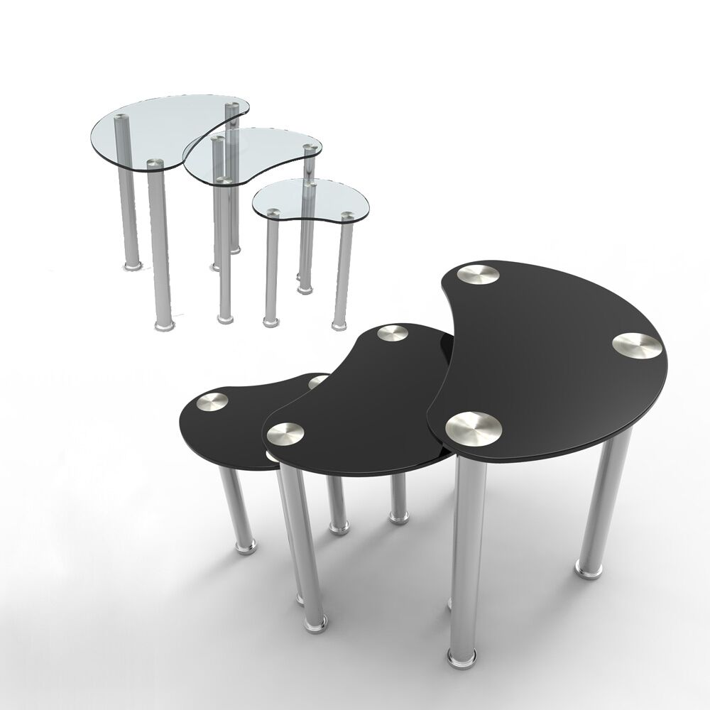Black Clear Tempered Glass Nest Of 3 Coffee Table Gloss Side End Table Set Ebay