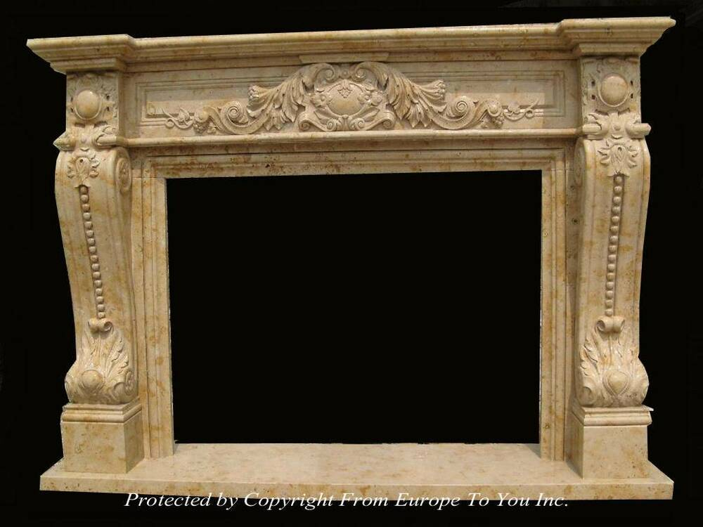 HAND CARVED MARBLE HENAN YELLOW FIREPLACE MANTEL JS201