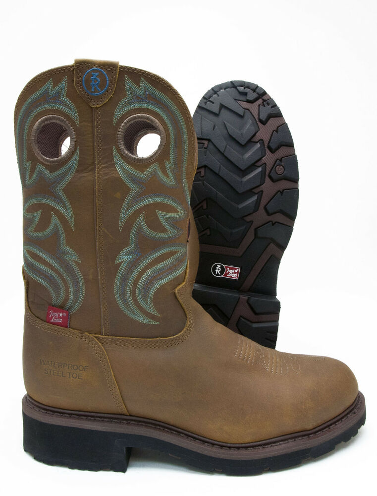 Tony Lama Leather Western Cowboy Waterproof Steel Toe Work