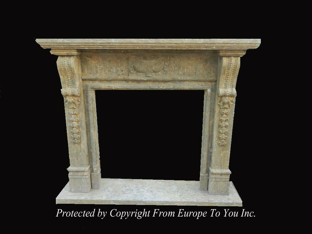hand carved antique stone style fireplace mantel jps602 ebay