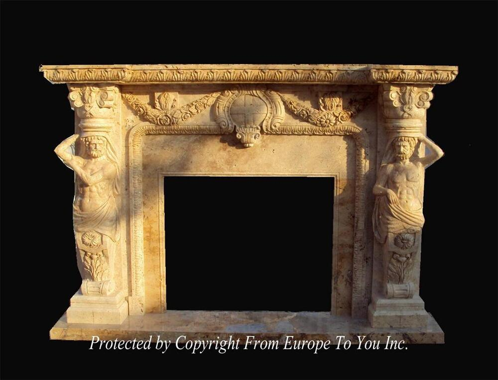 Incredible hand carved solid marble figural estate fireplace mantel yf026 ebay - Solid stone fireplace mantels with nice appearance ...