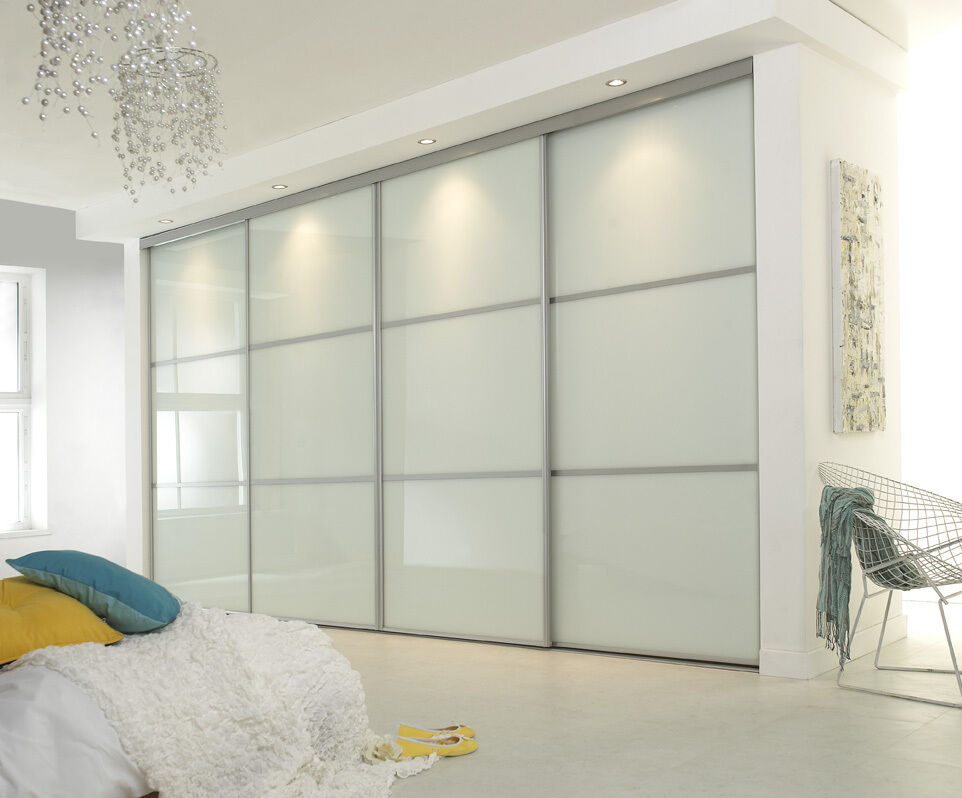 Pure white single panel sliding wardrobe door 914mm wide for Large opening sliding glass doors