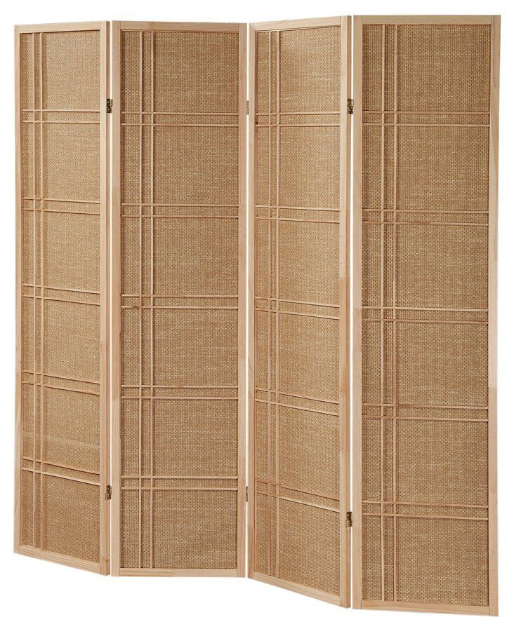 Panel rattan in lay wooden screen room dividers