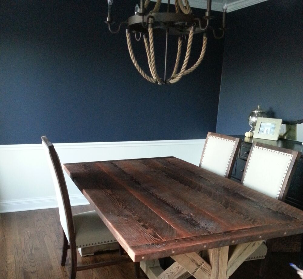 Country Rustic Reclaimed Barn Wood Trestle Table Ebay