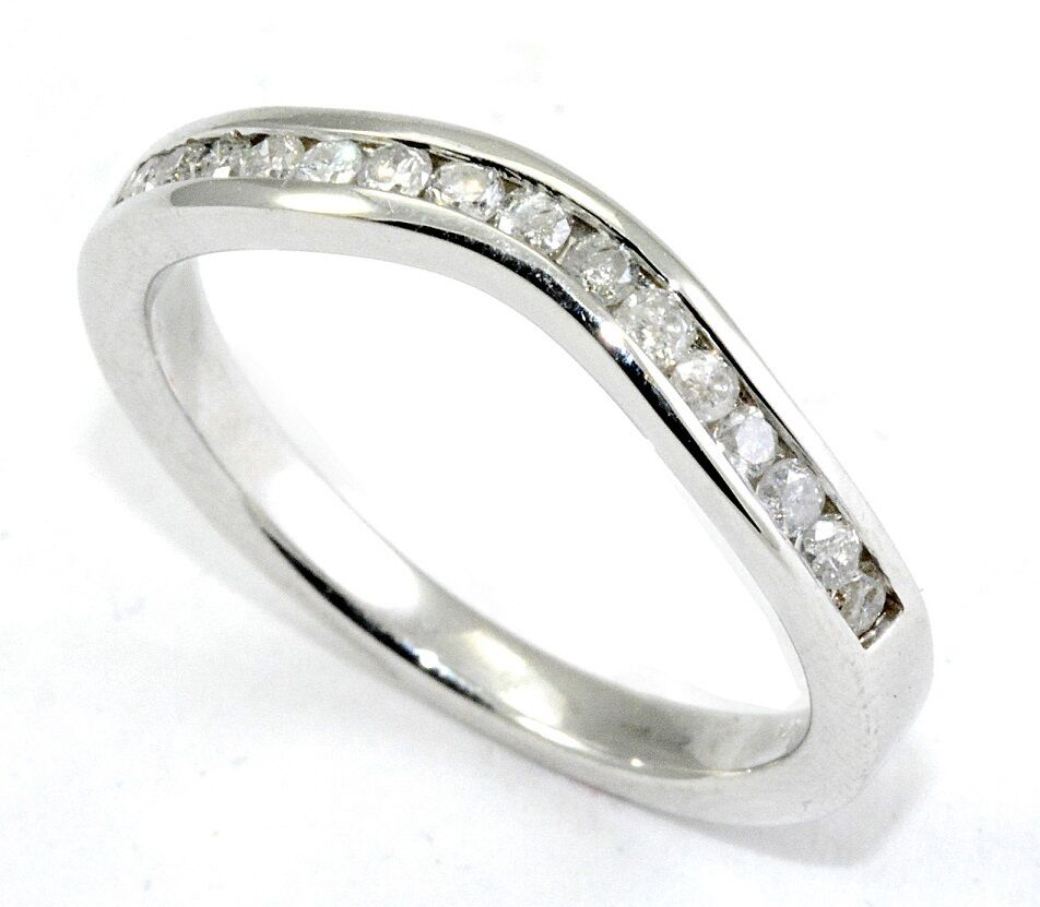 Diamond Wedding Ring Band 0.30 Carat CURVED 14K White Gold