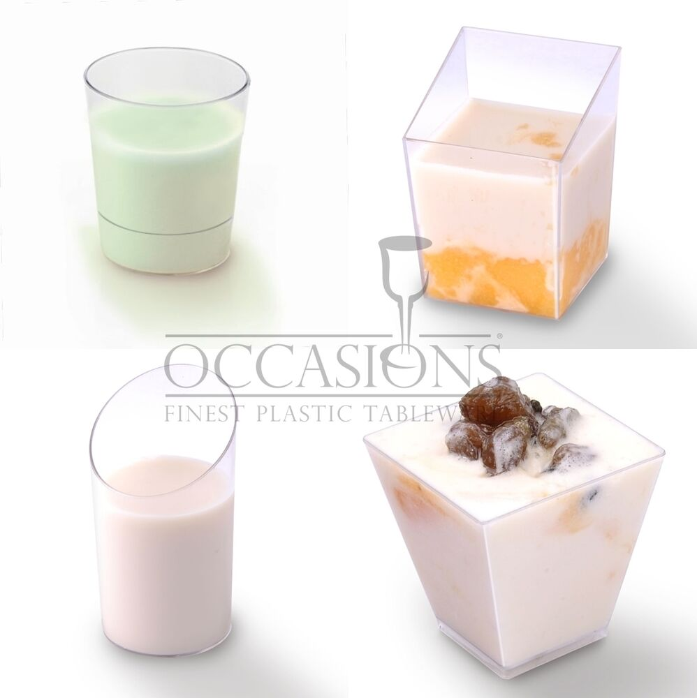Dessert mini plastic dishes shot glasses cups bowls for Where to buy canape cups
