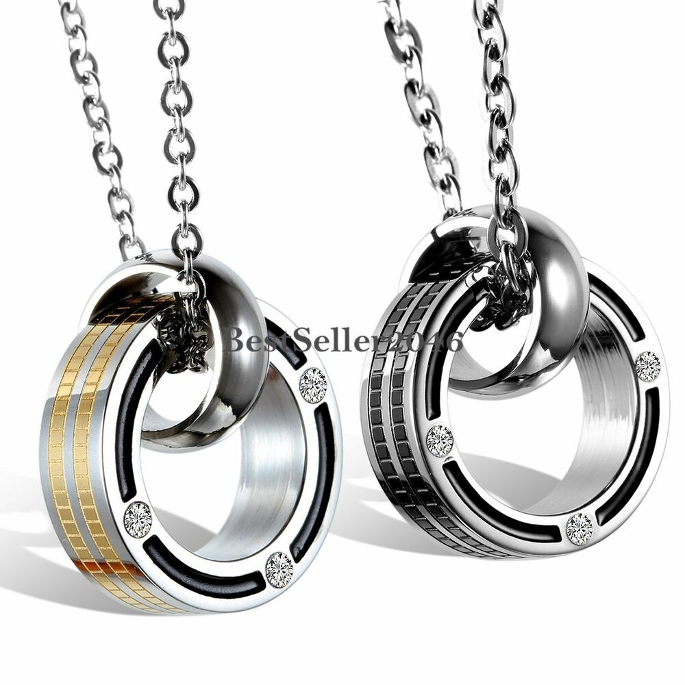 his and hers stainless steel promise rings pendant