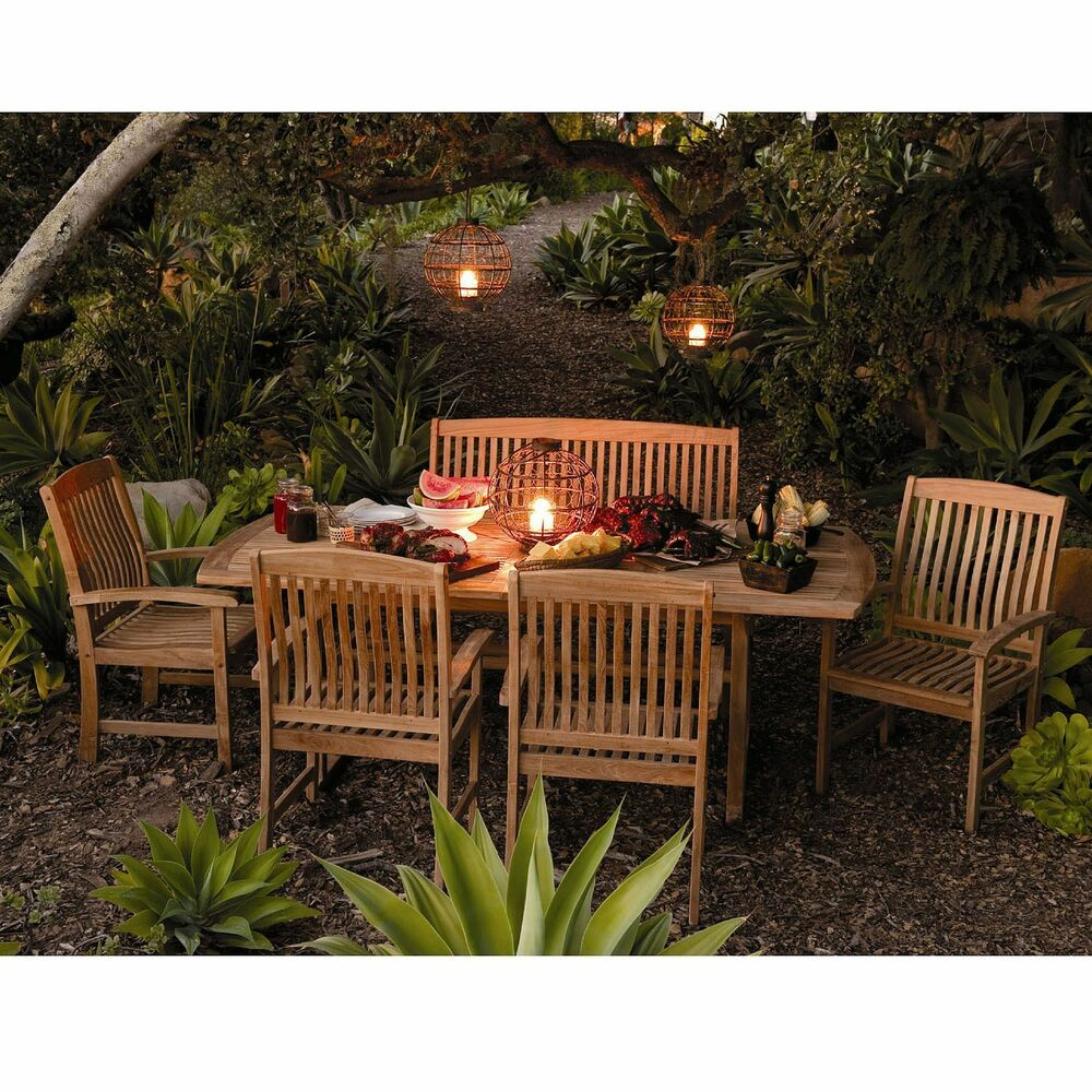 Outdoor Patio Extendable Teak Wood Dining Set 6 Pc Table Bench Chair