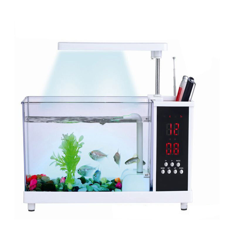 Desktop mini fish tank water running pump aquarium alarm for Desktop fish tank