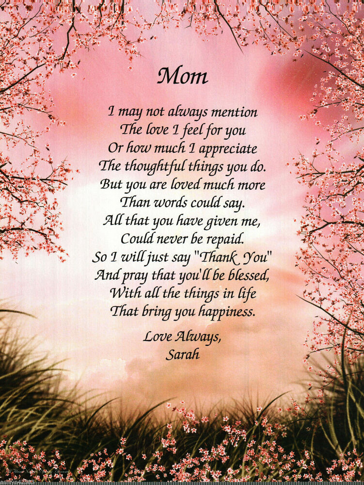 Personalized Poem for MOM on her Birthday or Mother's Days ...