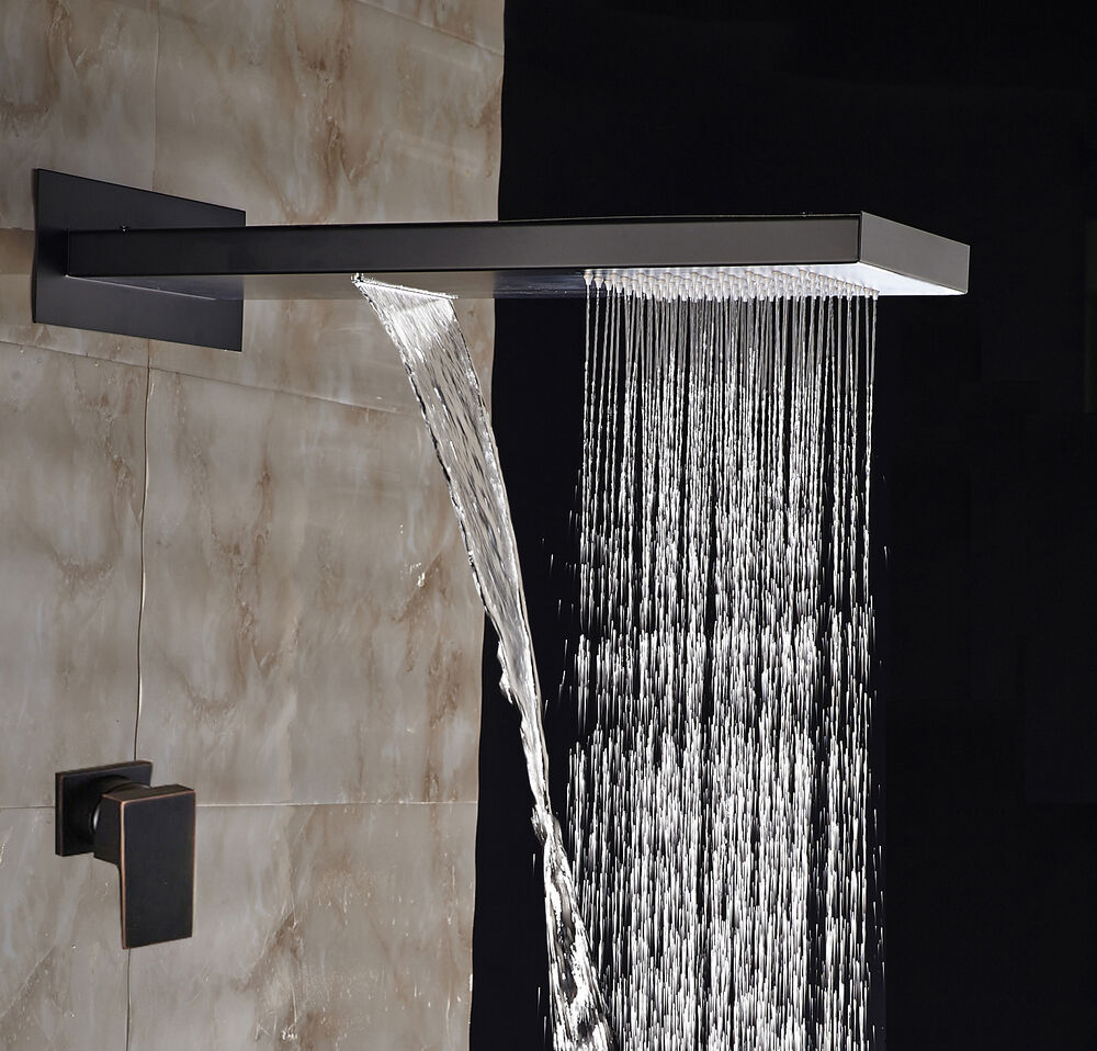 Large Oil Rubbed Bronze Waterfall Rain Shower Head Shower