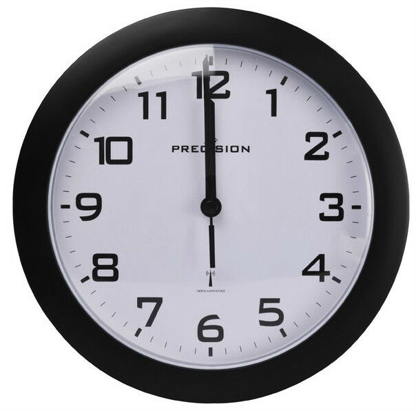 precision radio controlled analogue wall clock black prec0061 battery operated ebay. Black Bedroom Furniture Sets. Home Design Ideas