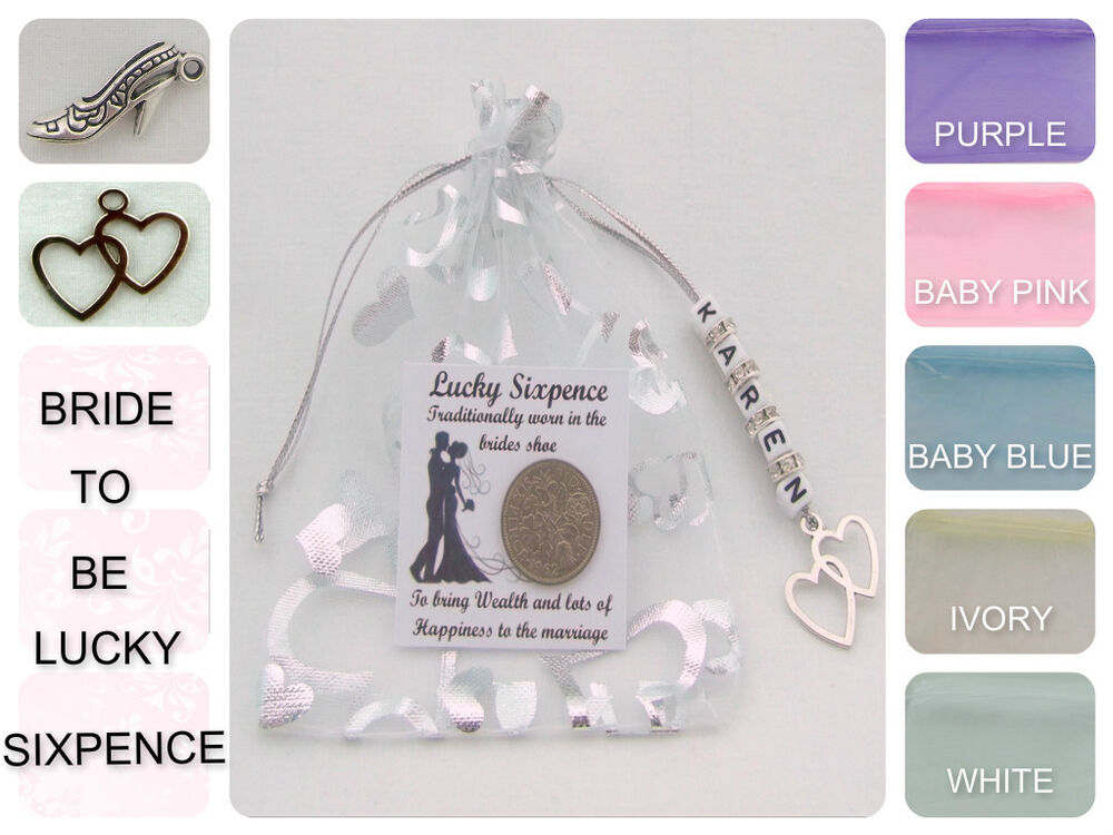 Personalised Wedding Good Luck Gifts : PERSONALISED LUCKY SIXPENCE BRIDE TO BE WEDDING DAY GIFT GOOD LUCK ...
