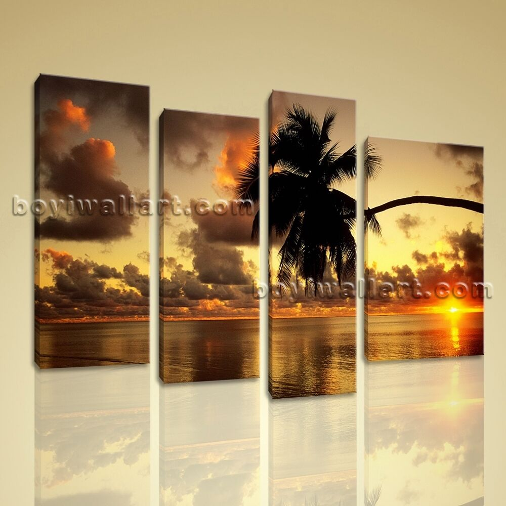 large picture prints stretched canvas wall art sunset glow palm tree beach ebay. Black Bedroom Furniture Sets. Home Design Ideas
