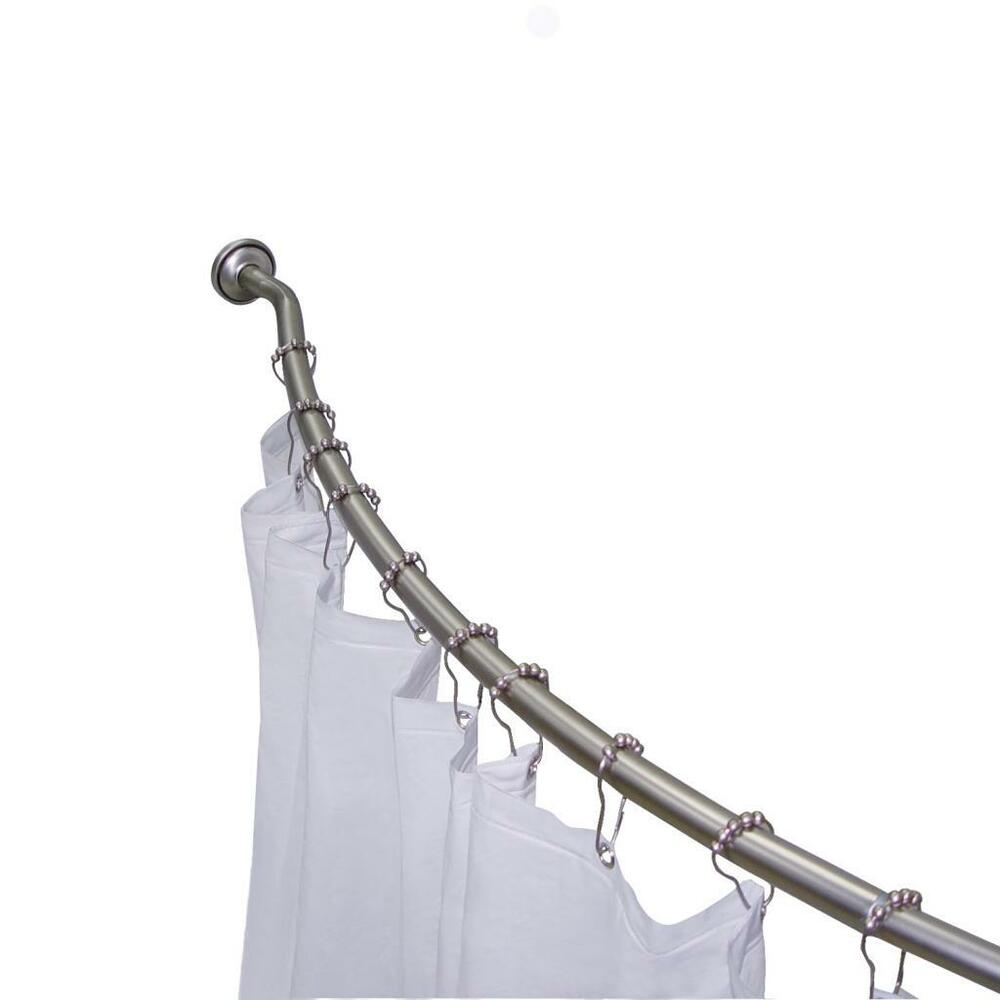 ... Curved Shower Curtain Rod Value Pack with 12 Hooks 50 72 Inch | eBay