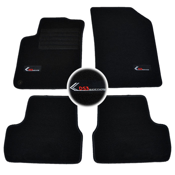 4 tapis sol moquette logo specifique citroen ds3 a partir. Black Bedroom Furniture Sets. Home Design Ideas