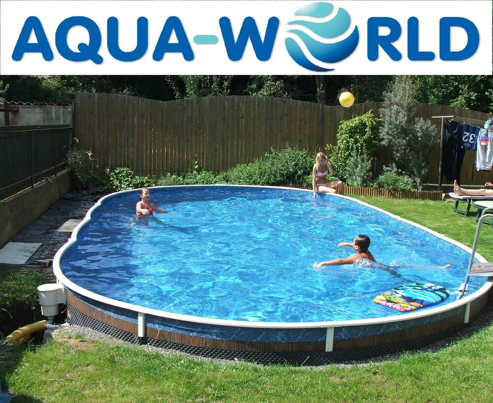 Aqua world above ground 30ft x 15ft oval swimming pool ebay for Above ground swimming pools uk