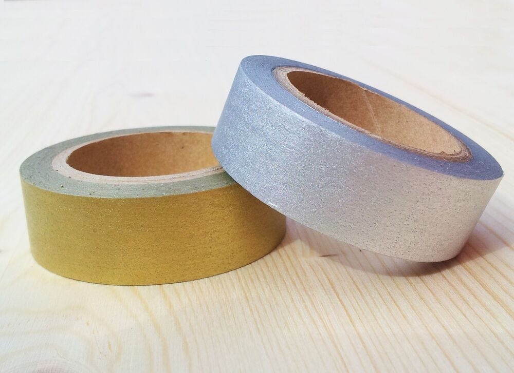 Gold silver paper tape metallic self adhesive washi for Tape works decorative tape